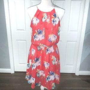 LUSH Flirty Coral Slvls ,flowy dress open bk M